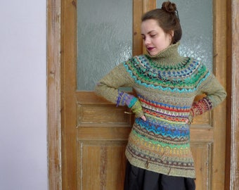 Handmade Icelandic style striped wool sweater for women with turtle neck