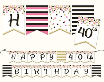 Birthday Banner, 40th, PRINTABLE, Happy 40th Birthday, Pink, Black and Gold Glitter, Party Decoration