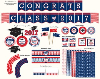 Graduation Party Printable, Navy Blue and Red, Includes Cupcake Toppers, Banner, Tags and More