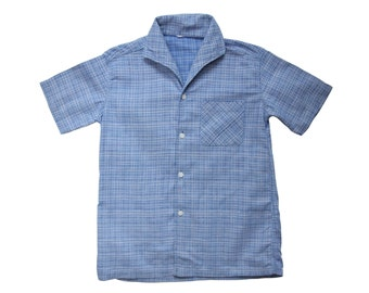 Vintage 50s boys shirt blue graphic cotton size 9/10 years