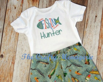 Baby Boy Fishing Outfit, Dads Fishing Buddy, Personalized Boy Bodysuit, Optional Fishing Lure Pants or Fishing Lure Personalized Hat