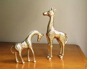 Vintage Brass Giraffes, Mother and Baby Giraffe Figurines, Two Giraffes, Brass African Animals, Pair