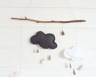 """Mobile """"Gold rain"""" wall hanging clouds"""