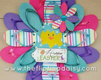 Unique and Beautiful Easter Flip Flop Wreath Pastels Beach Door Wall Decor Pool