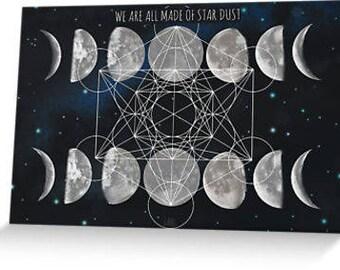 Stardust Moon card galaxy blank inside metatrons cube sacred geometry
