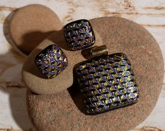 Gold, Purple, Black Boxes Dichroic Fused Glass Post Earrings and Pendant - FG-065