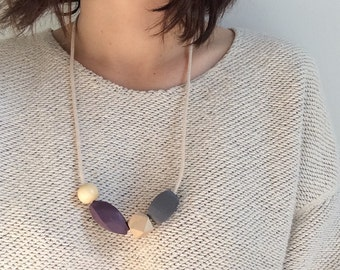 Purple and Grey Wooden Bead Necklace