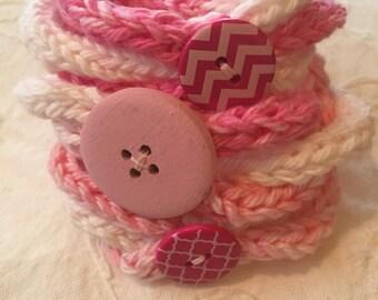 Hand-knit eyecord bracelets
