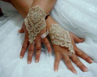 Champagne Lace Fingerless Glove Mittens, Tan Lace Wedding gloves, wrist cuffs
