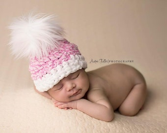 Baby GIRL Hat, POM POM Hat,  Newborn Baby Girl or Boy Crochet Chunky Pom Pom  Photography Prop Valentines Day Heart Hearts pink owl hat