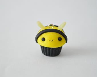 Kawaii Polymer Clay Bee Cupcake Charm - Kawaii Cute Polymer Clay Charms