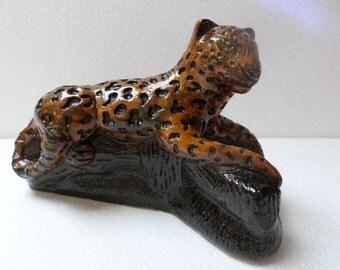 Vintage Mexican Folk Art Plaster of Paris Pottery  Cat Jaguar
