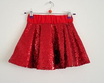 Red sequin skirt | Etsy