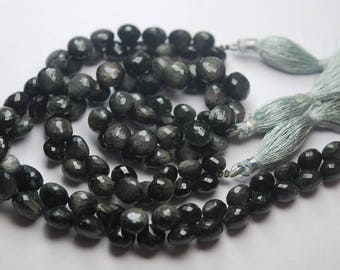 217 Carats,9 Inches Strand,Super Finest,Black Cats-eye Faceted Onion Shape Briolette,8-10mm