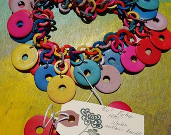 Funky multi colored bracelet and necklace pair