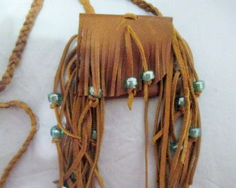 Small Brown Leather Fringed Medicine Neck Pouch Bag Braided Strap Glass Beads Fringe Flap