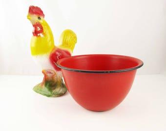 Red Enamelware Popcorn Bowl - 1930s Enamel Bowl With Black Edge Trim - Multi-purpose Red Enamel Bowl - Bright and Bold