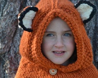 Hand-Knitted Fox Hood Animal Winter Hat