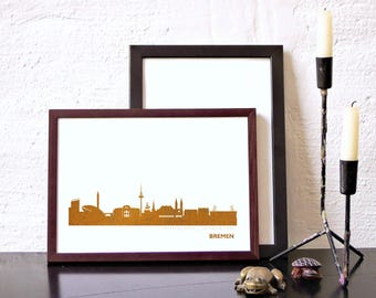 BREMEN Honeymoon Poster, pink gold BREMEN skyline, modern hygge artwork, BREMEN art print, wedding card, engagement, urban minimalist art