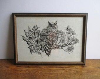 Vintage Framed Owl Cross Stitch