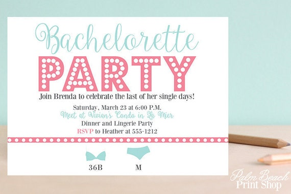 Modern Bachelorette Party Invitations - Personalized Bachelorette Party Invitations - Lingerie Party Printable Invitations - Adult Party