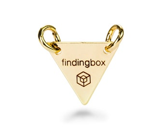 Gold Triangle Jewelry Tag with 2 Holes, Laser Engraved Logo on Triangle Tags Sequins, 15x15mm, 19 Gauge, Pkg of 100 PCS, F14O.GO01.P100.C