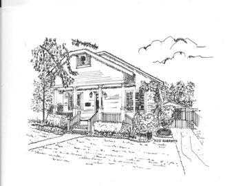 Custom drawings of houses, pen & ink drawings, Christmas present,