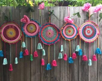 Wholesale lot  5 crochet dream catchers multi colour