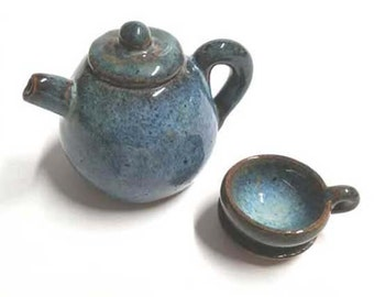 Handmade Ceramic Miniature Teapot and Cup with Saucer