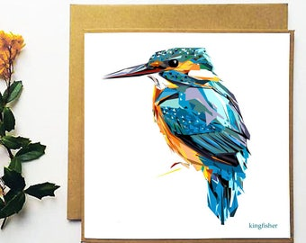 Kingfisher - Greetings Card - Handmade - Illustration -Wildlife - Nature - Bird - Art - Design - Gift