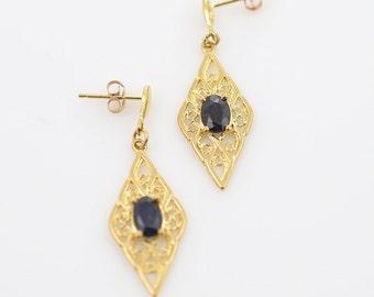 Vintage Sapphire 9K Gold Filigree Earrings, Vintage Jewelry, UK Blue Sapphire