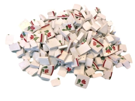200 Broken China Mosaic Tiles, Hand Cut Mosaic Plate Tiles, Vintage Ceramic Mosaic Supplies, Craft Tile Tesserae
