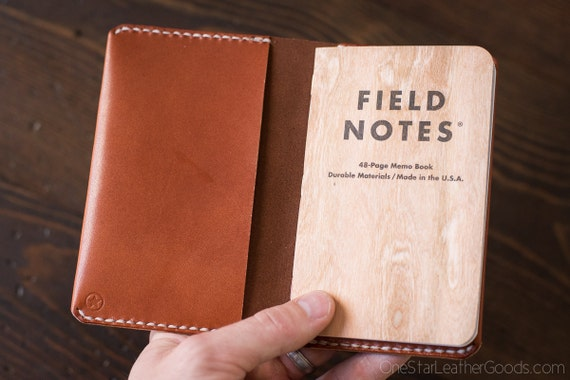 "ASSORTED COLORS - Simple leather notebook cover for Field Notes and other 3.5x5.5"" pocket notebooks, bridle leather"