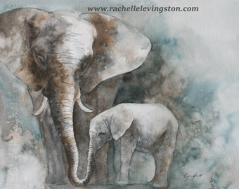 watercolor painting elephant painting of elephant Print elephant art PRINT elephant PRINT boy nursery art print boy girl wall art 11x14