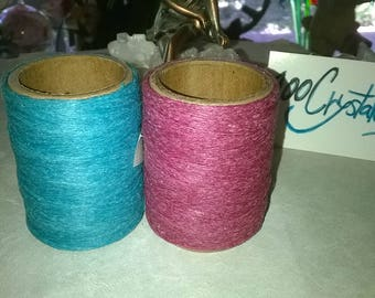 Assorted Colored Waxed Thread---70 Yard Spools----You get 2 Spools