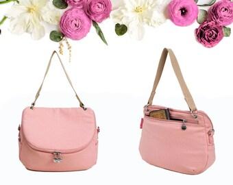 Rose Pink Crossbody / Shoulder Canvas Bag, Water Resistant Canvas, Everyday Bag