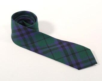 Vintage 1960s Keith Plaid Necktie - Green, Black, Purple Plaid - 100% New Wool - Made in Scotland - Scottish Tie