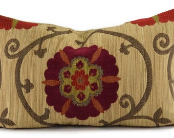 Red, Orange, Brown & Tan Suzanni Lumbar Throw PIllow Cover, Moroccan Throw Pillow Cover, 10x20