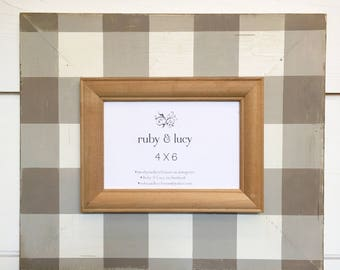 neutral ecru and white buffalo plaid custom distressed 4x6 frame | gift for friend | farmhouse decor | neighbor gift | woodsy theme decor