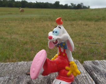 "Roger Rabbit 1997 Disney Amblin PVC Figurine 3"" x 2.5"" Vintage Toy Roger Rabbit Movie Character Roger Rabbit Collectible 1990s Toy Retro Toy"