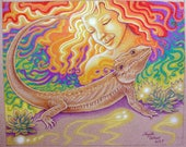 Bearded Dragon Art Print, Colored Pencil Drawing