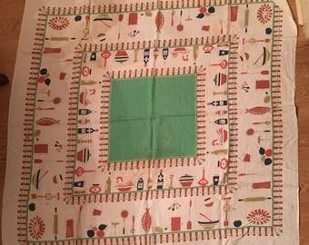 1950's linen Tablecloth