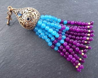 Large Long Lilac Purple Blue Curacao Smooth Round Cut Jade Stone Beaded Tassel with Crystal Accents - Antique Bronze - 1PC