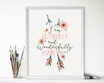 Printable art, Fearfully and Wonderfully Made, Digital download, Bible verse, Peach nursery wall decor, Scripture verse, Baptism - SKU:1236