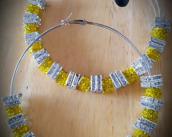 Yellow Crystal and Bling Hoop Earrings 85mm