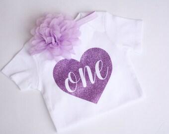 First Birthday Onesie, First Birthday Bodysuit, Purple sparkle outfit, Baby Girl First Birthday
