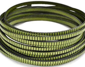 "5MM Flat Green Leather w/BlackStripe - 1M/39.4""  - Green/Black - Best Quality European Leather Cord"