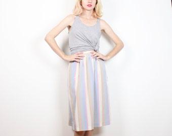 Vintage 1980s Skirt Pastel Striped Midi Skirt High Waisted Secretary Dress Skirt Preppy Knee Length Tea Length Skirt Classic Simple S Small
