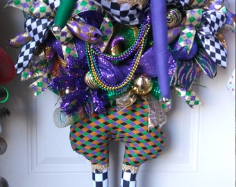 RESERVED - Mardi Gras Jester Wreath