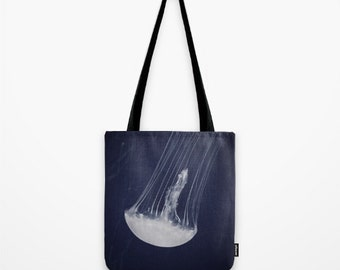 Jellyfish Tote Bag, Fine Art Macro Photography, Photo Tote, Over Shoulder Bag